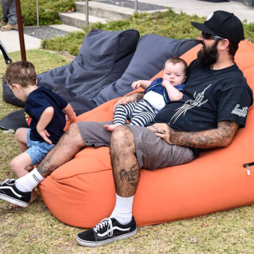 Harley Davidson Sydney distibutor hired twin seater bean bags for thier official opening. Family came to celebrate and lounge on bean bags.