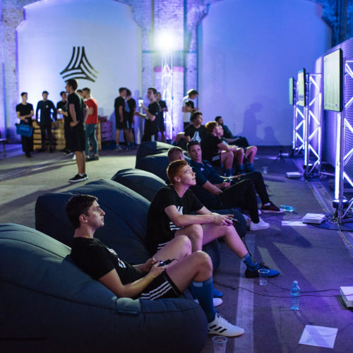 Adidas Tango League play area inCarriageworks Sydney, with players lounging on twin bean bags