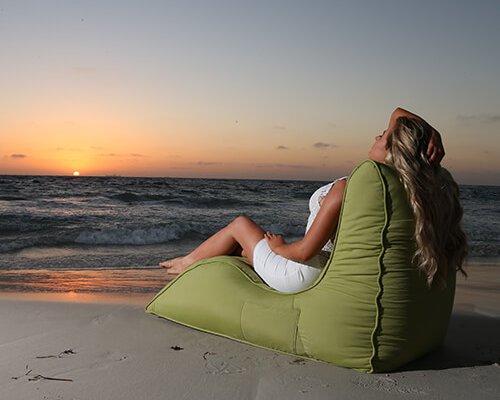 UK Hire Bean Bags Avatar Sofa Lime Green Waterproof Bean Bag in Beach Setting