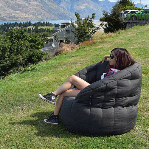 UK Hire Bean Bag by Ambient Lounge - Black Bean Bag Perfect For Outside Parties and Activities