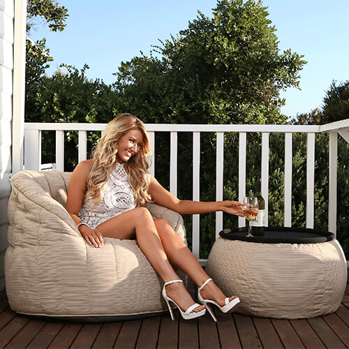 UK Hire Bean Bag by Ambient Lounge - Cream Bean Bag for Outdoor Parties