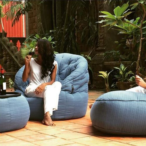 UK Hire Bean Bag by Ambient Lounge - Blue Sky Bean Bag for Garden Parties and Activity Setting