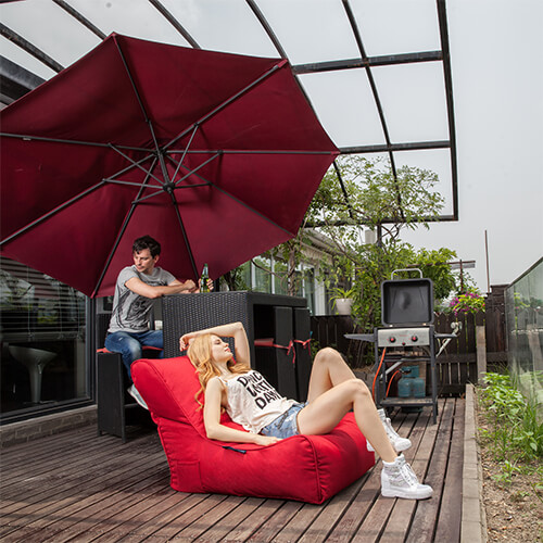 UK Hire Bean Bag by Ambient Lounge - Red Bean Bag for Garden Events.