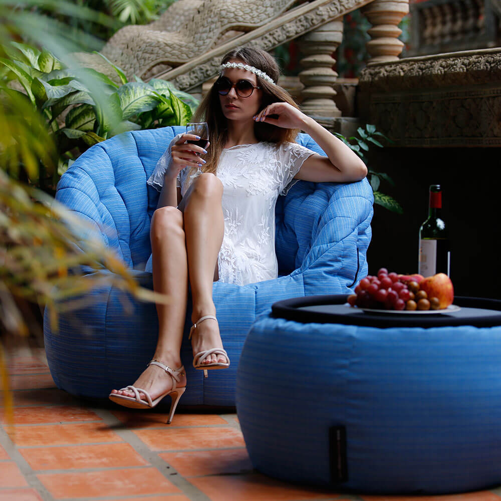 UK Hire Bean Bag by Ambient Lounge. Butterfly Sofa Blue Sky Bean Bag in Outdoor Parties