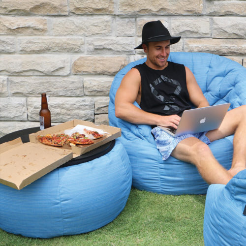 waterproof soft furniture, butterfly sofa and versa table oceana enjoyed by blogger Tayson Mayr