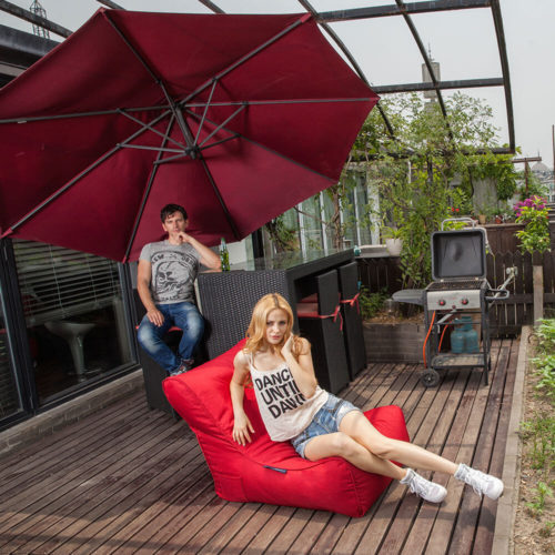 make a chic indoor party with red bean bags for hire