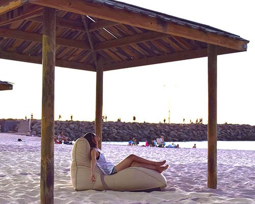 UK Hire Bean Bag by Ambient Lounge. White Outdoor Waterproof Bean Bag for Beach Party