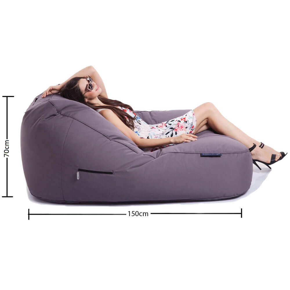 grey waterproof twin seater bean bag for events