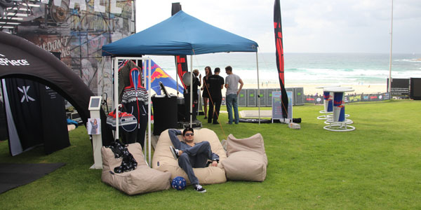 bean bags made OnePiece event happened at Bondi Beach Sydney more fun