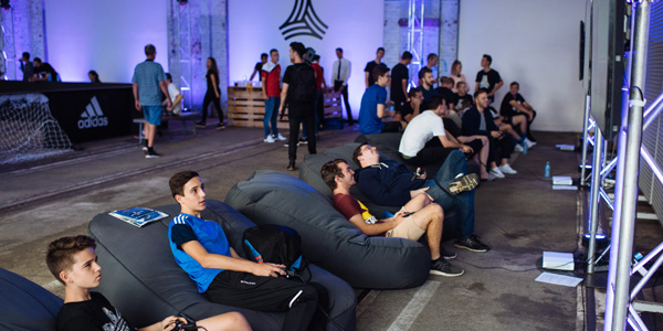 players of FIFA tournament enjoyed playing in bean bags during the Adidas Tango league
