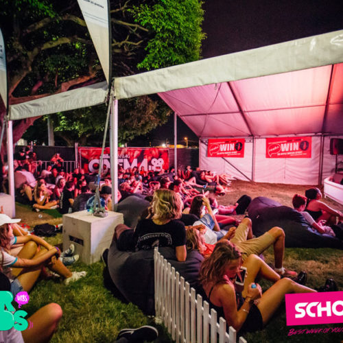 Good Life Music Festival in Brisbane, with cinema and bean bags