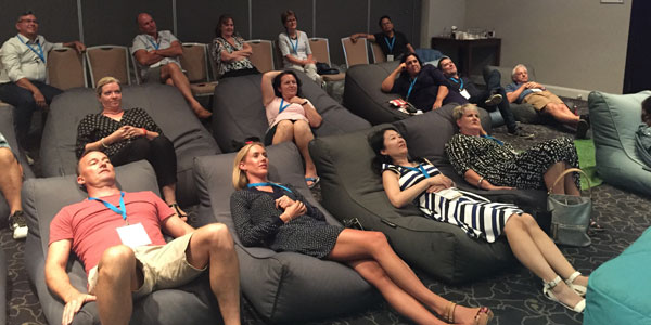 relaxing enviroment with bean bags was the theme for the Bayer Australia new app launch in Novotel Manly