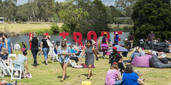 Alumni, Staff and students of La Trobe University enjoys the bean bags in their all day event