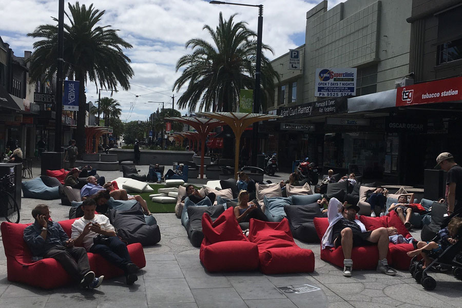 guests love bean bags during pop up cinema in Acland Village, Melbourne