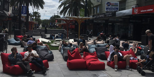 bean bags made Valentines day sweeter during pop up cinema in Acland street Village, Melbourne