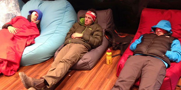 guests rest on bean bags after the challenge in Blue Mountains, Ultra Trail Australia