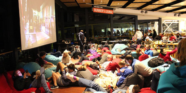 guests relax on bean bags after running the Ultra Trail Australia challenge at Blue Mountains